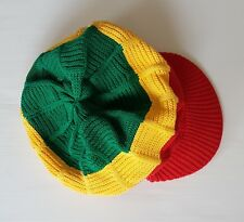 Rare Reggae Style Cap, Jamaica Colours, Red, Yellow, Green, Bob Marley, Hip Hop