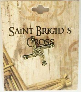 Saint Brigid's of Kildare Cross Bronze Pin Brooch St. Brigid Prayer On Reverse