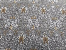 William Morris Curtain Fabric 'Snakeshead' 2 METRES (200cm) Pewter/Gold Linen