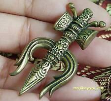 Thai Amulet Pendant Shiva Weapon Trishula symbol Hinduism Buddhist Rich Wealth