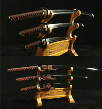 1095 CLAY TEMEPERED JAPANESE SAMURAI SWORD SET ( KATANA + WAKIZASHI +TANTO)