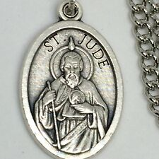 St Jude Pendant Necklace 27 inch Endless Stainless Steel Chain