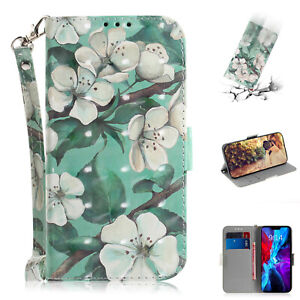 3D Painted Watercolor Flowers Fashion Women Wallet Case Cover For Various Phone