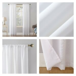 """New, Single White Mainstays Textured Solid Curtain Panel 38"""" W X 95"""" L."""