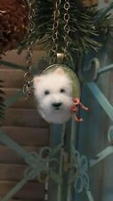 3D NEEDLE FELTED WESTIE PENDANT/NECKLACE ~ OOAK FABRIC ART by Renate'