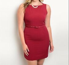 SALE Plus Size Chic Work Business Maroon Dress Size 16-18 - Perfect for the city