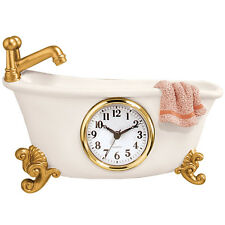 Claw Foot Style Bathtub Wall Clock Golden Faucet Feet Towel Battery Resin B