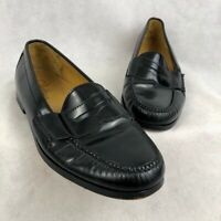 Cole Haan Mens Pinch Penny Loafers Black Leather Slip-On Moc Toe Shoes 10.5 D