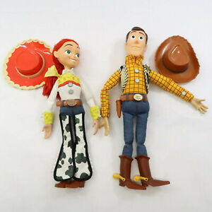 "Toy Story Woody And Jessie 15"" Pull String work Dolls With Hats and Wood flawed"