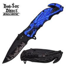 Dark Side Blades Grim Reaper Spring Assisted Folder Knife - Blue