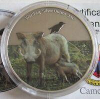 Kamerun 1000 Francs 2017 Tiere Warzenschwein Koloriert 1 Oz Silber