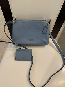 NWT COACH LEATHER LIGHT BLUE MESSENGER BAG WITH WALLET