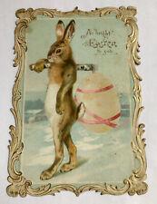 Humanized Rabbit Carrying Easter Egg Over Shoulder Fringed Edge Card