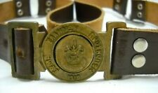 Vintage Greek Boy Scouts Dark Brown Leather Belt Engraved Symbol #32