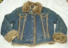 Women's Coffee Shop Jean Jacket Faux Fur Trim Size Large