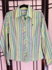Lilly Pulitzer long sleeve striped blouse, green/teal/yellow/pink, size 6