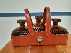 Vintage 1960's Vermont NSW 3 Cut Glass Amber Decanters In Faux Leather Case