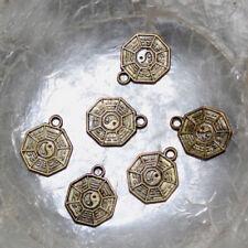"6 Breloques Pendants Charms - BAGUA MANDALA - 13/16 MM - ANNEAU 2 MM ""BRONZE"""