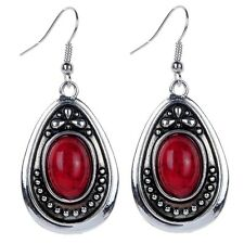 Red Turquoise Water drop pendant Tibetan Silver Hook Earrings Women xmas Jewelry