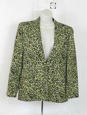 Joan Leslie Petite Womens 10P Blazer Jacket  Green Animal Print Lined one button
