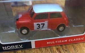 NOREV 319251 MINI COOPER S model car Monte Carlo 1964 red body white roof 1:64th