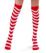 New Women Christmas Stockings Red & White Stripe Over Knee High Socks Stockings