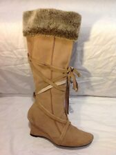 Pierre Cardin Brown Knee High Suede Boots Size 5