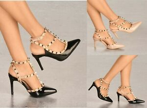 LADIES STUDDED STRAPPY HIGH HEEL POINTED TOE EVENING PARTY SHOES SIZES 3-8