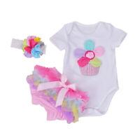 3PCS Newborn Baby Girl Outfits Clothes Romper Jumpsuit Bodysuit+Pants Shorts Set