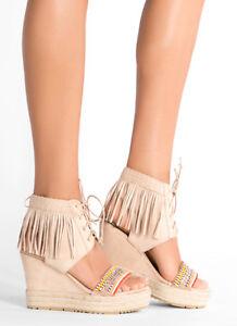 Womens-Ladies Sandals Ankle Lace Up Platform Wedge Hi Top Hidden Beige NEW*UK