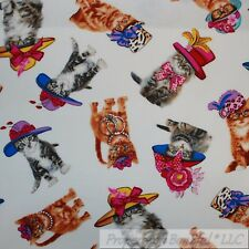BonEful Fabric Cotton Quilt White Brown B&W Tiger Kitty Cat Dress Costume SCRAP