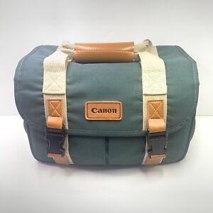 Vintage Canon Camera Bag Organizer Green Pockets DSLR Case 12x7x8