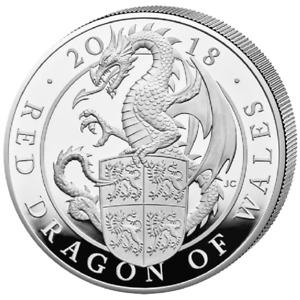 10 PFD Drache von Wales - Gr. Britannien 2018 - 10 Oz SILBER Münze - PP + Etui