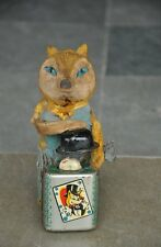 Vintage Textured Cloth Litho Fox Magician Wind Up Tin Toy , Japan