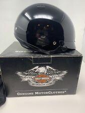 HARLEY DAVIDSON Mens 98212-10VM 1/2 Helmet w/Retr Sun Shield Gloss Black Sz L