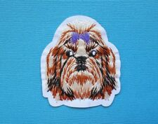 Shih Tzu Dog Embroidered Patch Applique Iron Sew On Embroidery Brown Face