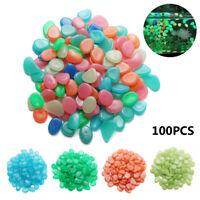 100PCS Artificial Pebbles Stones Glow In The Dark Fish Tank Aquarium Decoration~