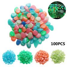 100PCS Artificial Pebbles Stones Glow In The Dark Fish Tank Aquarium Decors ~