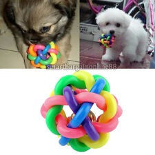 Pet Dog Puppy Cat Colorful Rubber Training Chew Ball Bell Squeaky Sound Play Toy