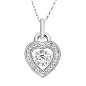 """Round Simulated Platinum Over Silver Love & Hearts Dancing Pendant 18"""" Chain"""