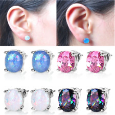 Charm Hypoallergenic Stainless Silver Plated Round White Fire Opal Stud Earrings