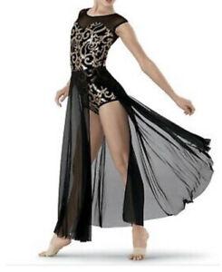 Dance Costume L/A Large Adult Gold Black Lyrical Modern Weissman 7661