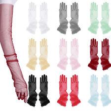 Women Bridal Transparent Tulle Full Finger Long Gloves Mittens Bridal Wedding