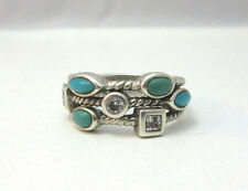 Designed Ring Band Marked Esp Sz 9 * Sterling Silver Turquoise & Cz 3 Part Rope