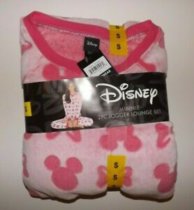 DISNEY Pink Mickey Minnie Mouse Pajamas Set PJ S Small Fleece Sleepwear Womens