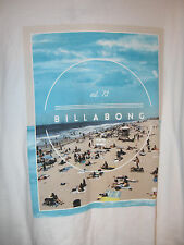 Billabong Mens Short Sleeve Crew Neck Tshirt NWT L White with Beach Scene