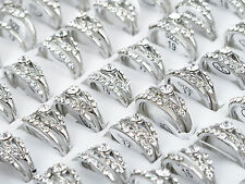10Pcs Wholesale Lots Silver Plated Rhinestone Rings Wedding Engagement Jewelry