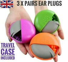 3 x PAIRS SOFT SILICONE EAR PLUGS  * WITH TRAVEL CASE *  Earplugs  Reusable UK