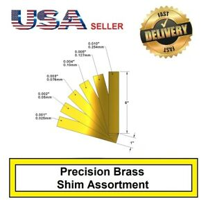 "1"" x 6"" Brass Shim Stock Assortment 0.001, 0.002, 0.003, 0.004, 0.005, 0.010"