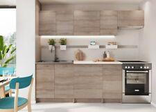 Modern Kitchen 7 Units Cabinets Set Dark Oak Finish Cupboards with Worktop Nela